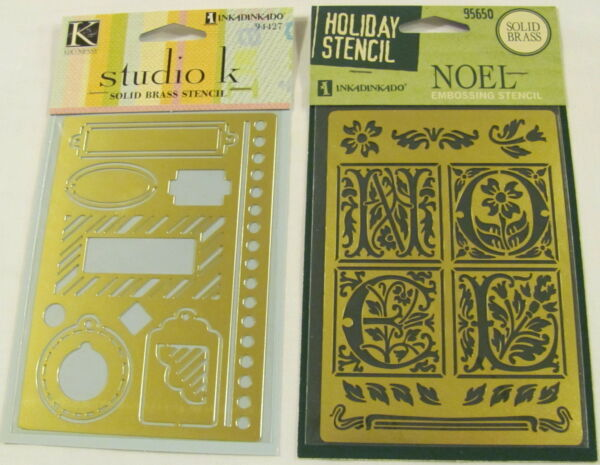 2 Solid Brass Embossing Template Stencil - NOEL Boarder & Tags  Ships Free