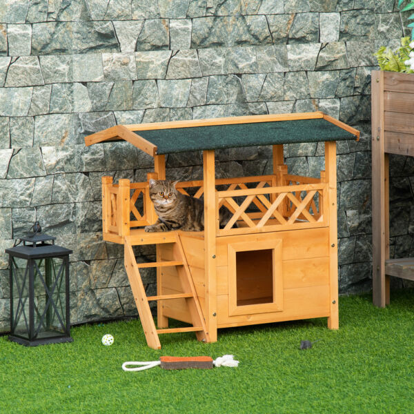 Wooden Pet House Cat Room Dog Puppy Large Kennel Indoor Outdoor Shelter w Roof $99.99