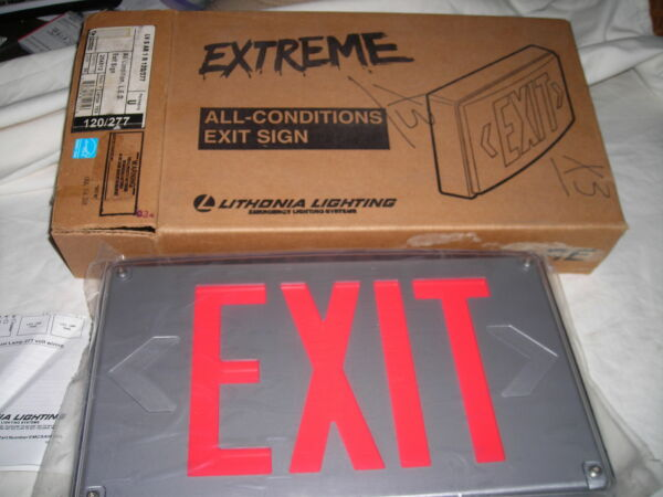 2 X Lithonia  LV S AB 1 R 120277 LED Exit Sign with Battery Backup Cast Alum