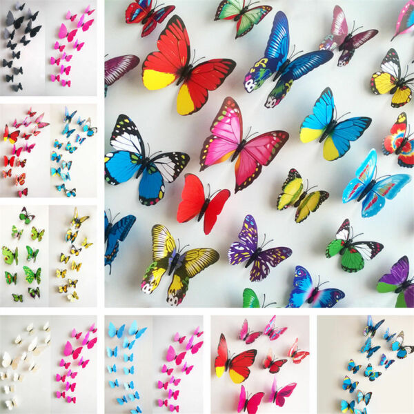 12PC DIY PVC 3D Butterfly Wall Decals Stickers Home Decor Room Vinyl Art Decals C $2.43