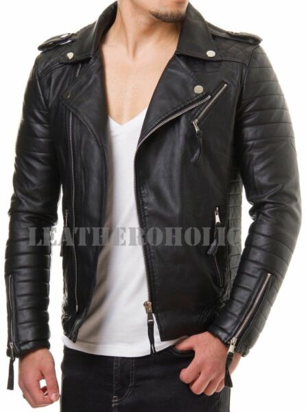 MENS BLACK GENUINE LEATHER JACKET SLIM FIT REAL BIKER NEW XS-3XL VINTAGE