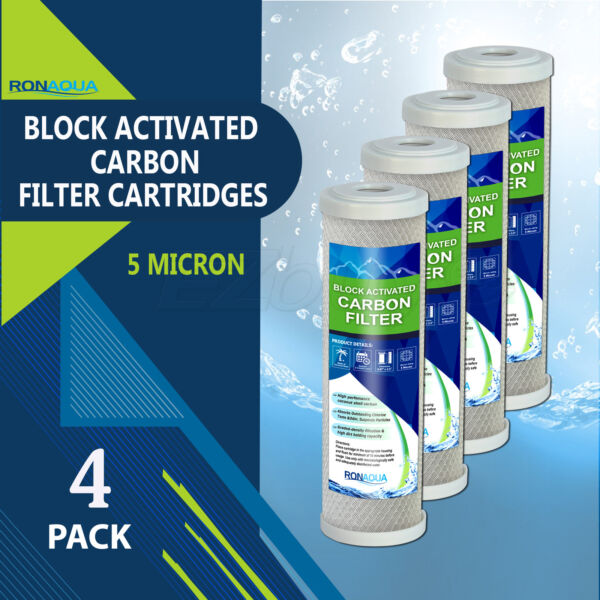 4PK 9.875quot; x 2.5quot; Coconut Shell Carbon Block Water Filter for Whole house amp; RO $21.49