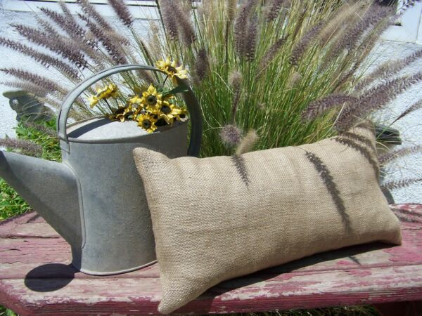 8x24 lumbar Burlap Pillow Throw Decorative French Country Farmhouse covers 12pc