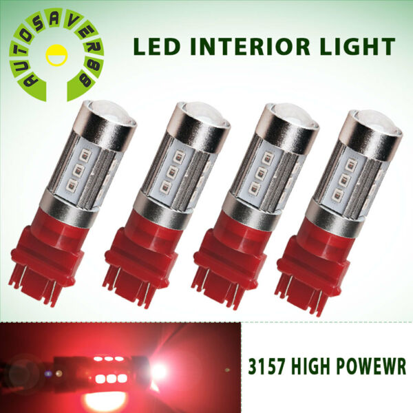 4PCS Red 3157 3156 3057 3457 4157 15SMD LED Bulbs for Brake Tail Light