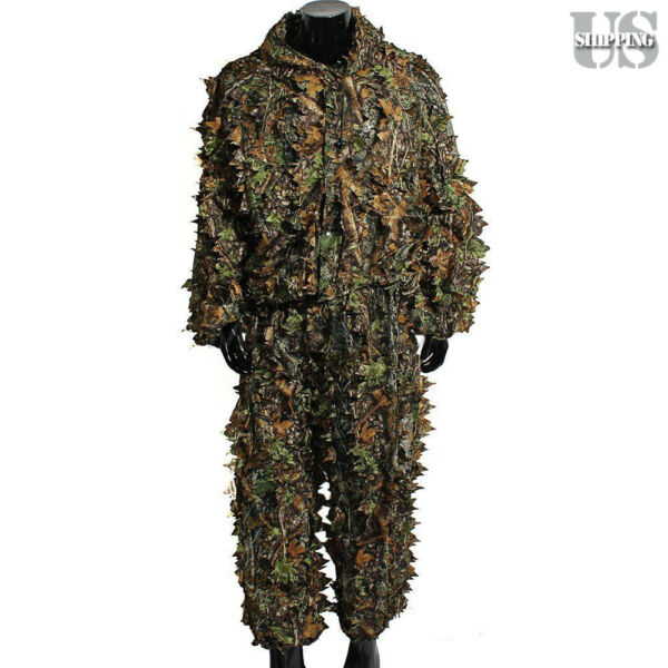 Ghillie Suit Leaf Woodland Camo Camouflage Clothing 3D Jungle Hunting Forest ML