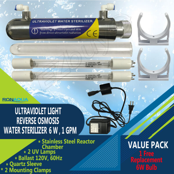 Ultraviolet Light Water Purifier Reverse Osmosis UV Sterilizer 6W + Extra Bulb