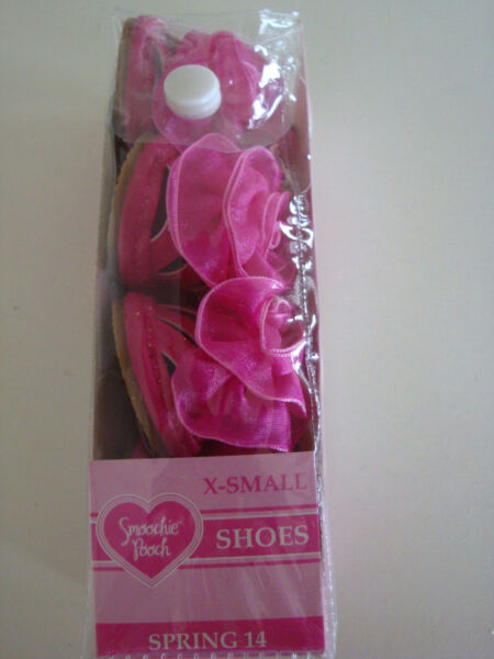 SMOOCHIE POOCH FANCY HOT PINK  with FLOWER SANDALS DOG PUPPY SHOES - LARGE