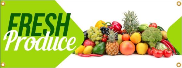 Fresh Produce Vinyl Display Banner with Grommets 3'h x 8'w Full Color