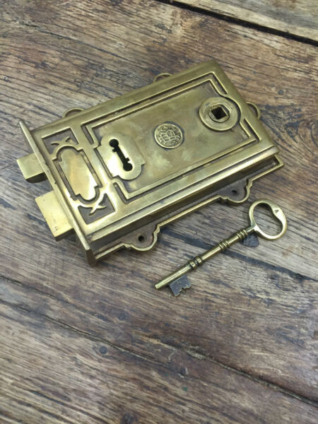DAVENPORT SOLID BRASS VICTORIAN PERIOD TRADITIONAL ANTIQUE DOOR RIM LOCK