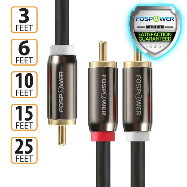 3 6 10 15 25 FT Dual Layer 2 to 1 RCA Male Splitter Stereo Sub Audio Y Cable