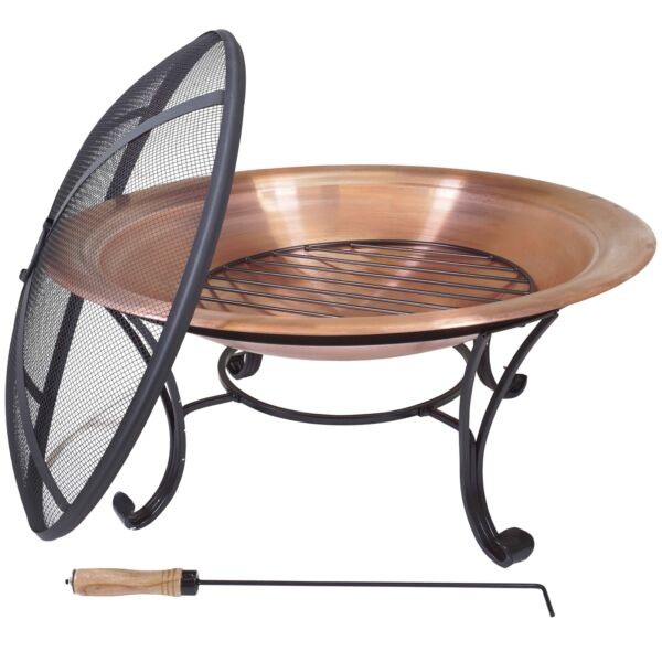 "Copper Fire Ring Outdoor Fire Pit Wood Burning Fire Bowl for Patio Deck (29"")"