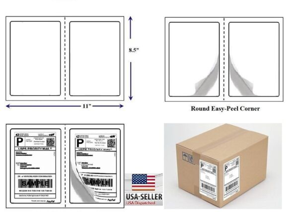 2000 Quality Round Corner Shipping Labels 2 Per Sheet 8.5