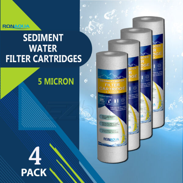 4 Pack Sediment 5 Micron Water Filters Cartridge 2.5