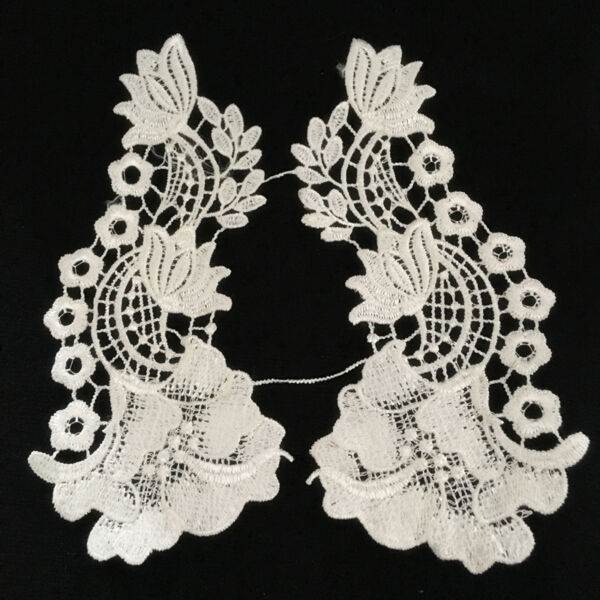 1 Pair Vintage Polyester  Lace Trim Applique Wedding Bridal Dress Sewing DIY15