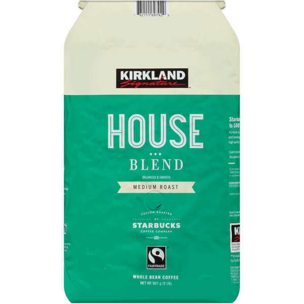 Kirkland House Blend Coffee Original or Decaf Medium Roast Whole Bean Starbucks