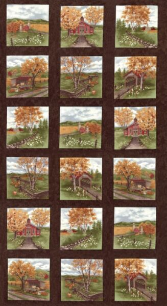 COUNTRY ROAD Fabric Blocks PANEL Moda Fabric Squares by Holly Taylor Earth