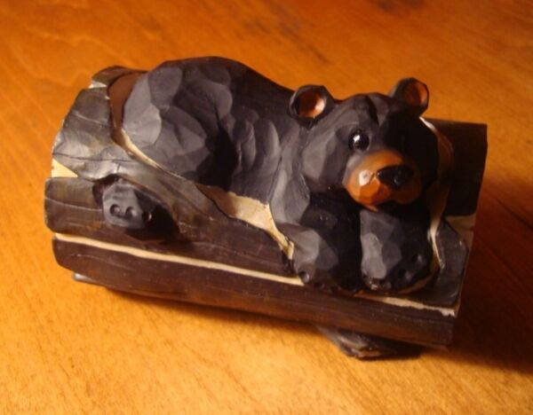 Black Bear Trinket Jewelry Box Figurine Rustic Faux Wood Carved Log Cabin Decor