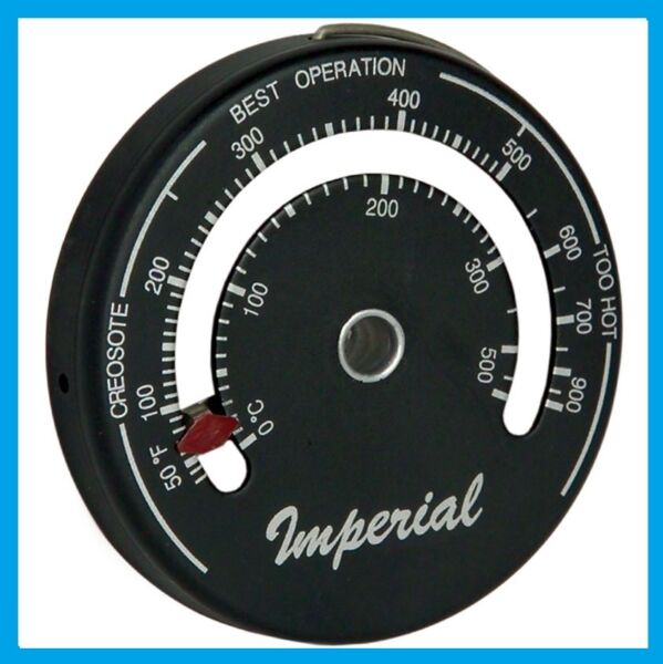 IMPERIAL STOVEPIPE THERMOMETER Woodstove Pellet Stove Burn Indicator Kal Kem NEW