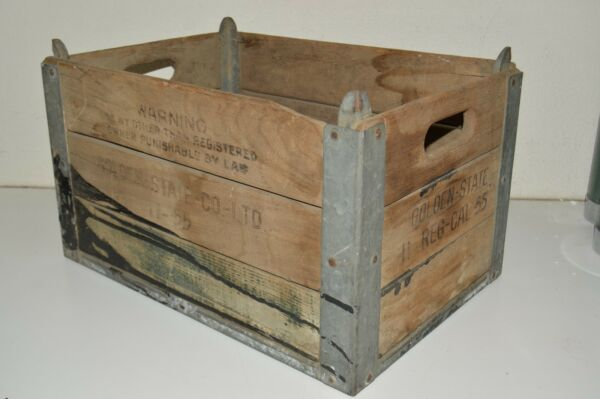 Vintage 1955 Golden State Co Ltd DAIRY Worn Aged Wooden Milk Crate Box Rare