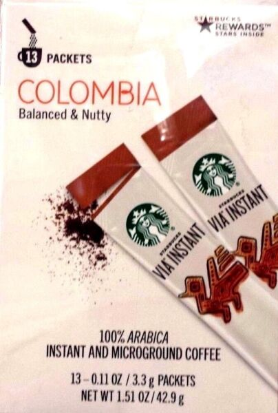 13 PACKS STARBUCKS VIA INSTANT COFFEE COLUMBIA MED ROAST BEST 050319 OR LATER