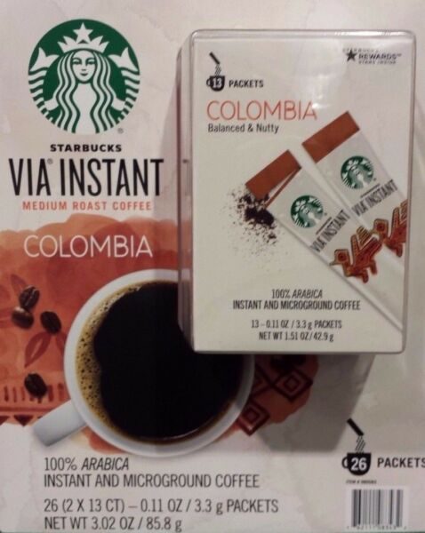 20 BOXES=260 PACKS STARBUCKS VIA INSTANT COFFEE MED ROAST COLUMBIA BEST 110318