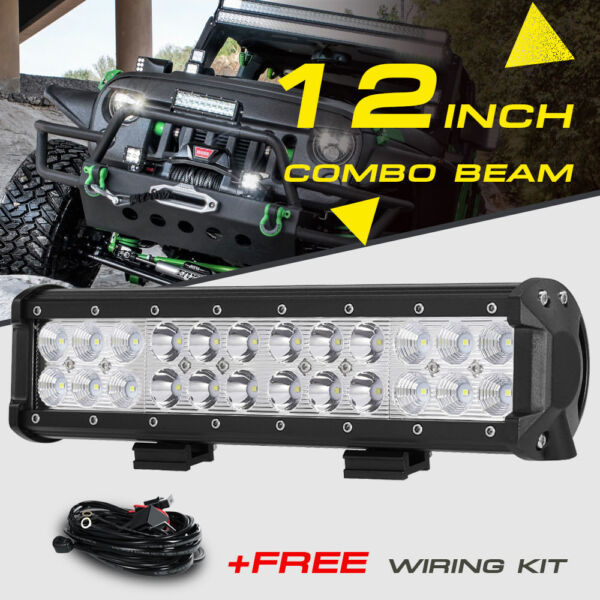 12inch 72W LED Light Bar Work SPOT FLOOD Combo Beam CREE 4WD CAR ATV+ Wiring Kit