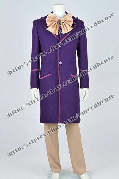 Charlie And The Chocolate Factory Willy Wonka Cosplay Costume Men Trench Coat