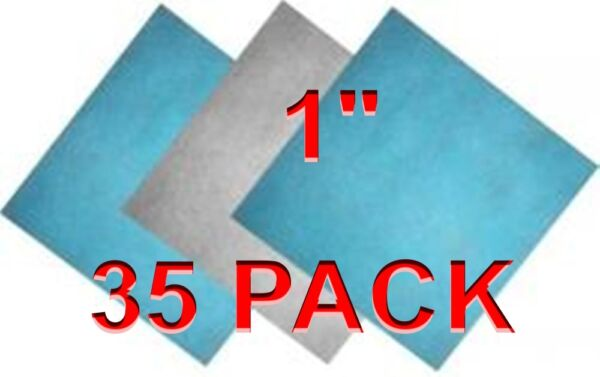 (35 Pack) 1 inch thick Polyester Filter Media Pads BlueWhite Furnace HVAC