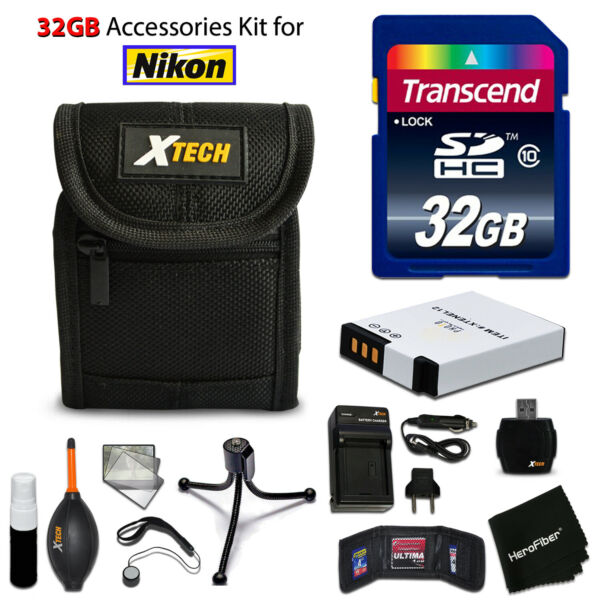 32GB ACCESSORIES Kit for Nikon A900 w/ 32GB Memory + Battery + Case
