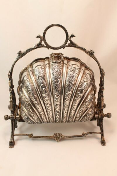 Antique English Silver Plated Folding Biscuit Box Barrel Bun Warmer w Hallmarks