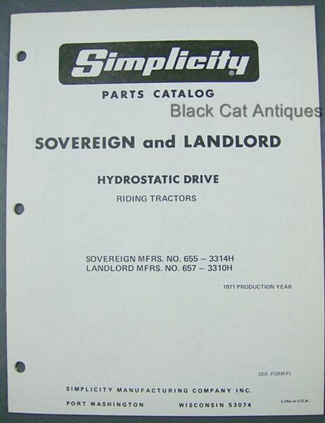 Simplicity 1971 Parts Catalog Sovereign #655 Landlord #657 Hydrostatic Tractor