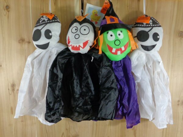 Halloween Hanging Decoration Set of 4 WITCH DRACULA GHOST PIRATE 20