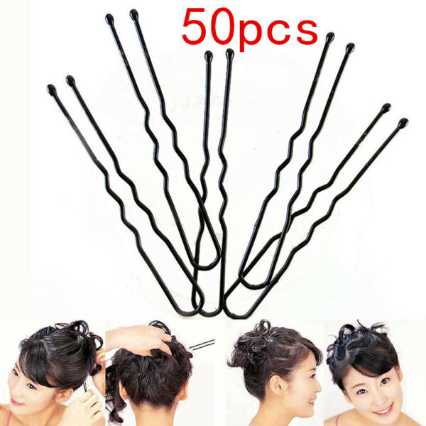 50pcs 6CM Hair Waved U-shaped Bobby Pin Barrette Salon Grip Clip Hairpins Black
