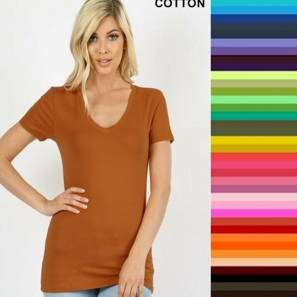 Womens V Neck T Shirt Zenana Short Sleeve Basic Cotton S M L XL Free Ship $8.95
