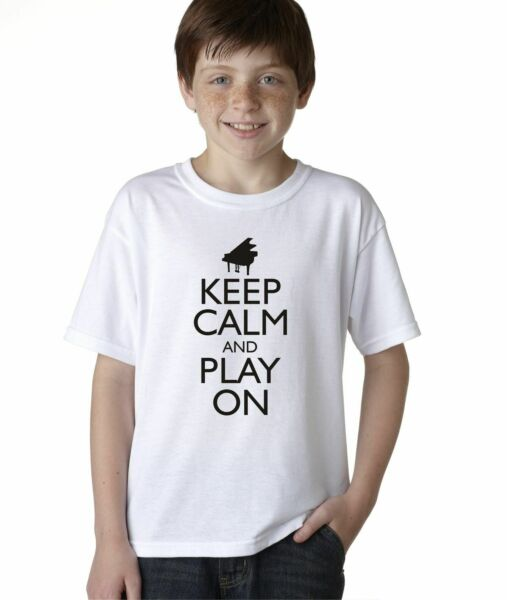 Hot4TShirts Keep Calm and Play On Piano Funny T-Shirt For Kids