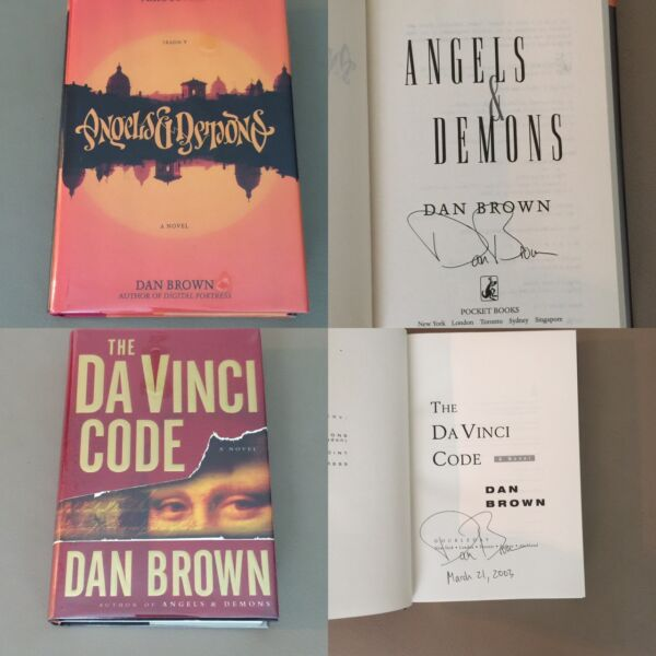 Angels & Demons and The Davinci Code by Dan Brown Signed First Editions