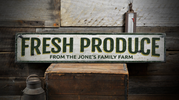 Fresh Produce Custom Family Name Farm - Rustic Distressed Wood Sign ENS1001394