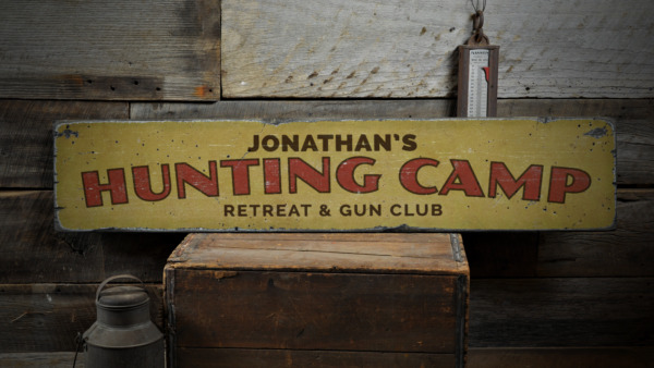 Hunting Cap Retreat & Gun Club Custom - Rustic Distressed Wood Sign ENS1001625