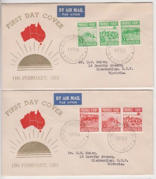 Stamps Australia food produce strips on pair Guthrie specific cachet type FDC's