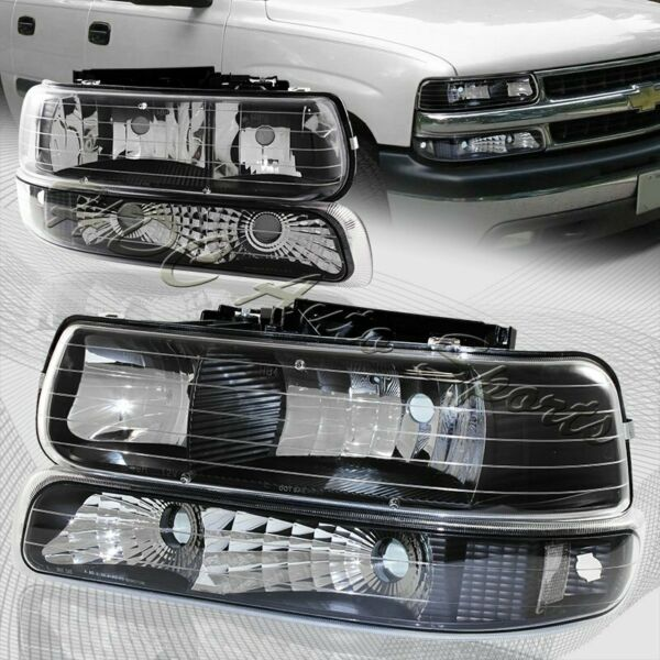 For 2000 2006 Chevy Suburban 1500 2500 Black Housing Headlights Bumper Lamps $77.88