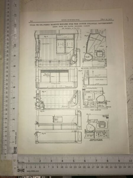 Marine Boilers For The Dutch From Glasgow: 1912 Engineering Magazine Print GBP 15.00