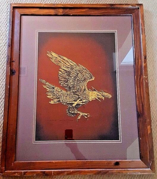 Texas Artist Jack White Gold Leaf Flying Eagle Echruseos Painting Make Offer!