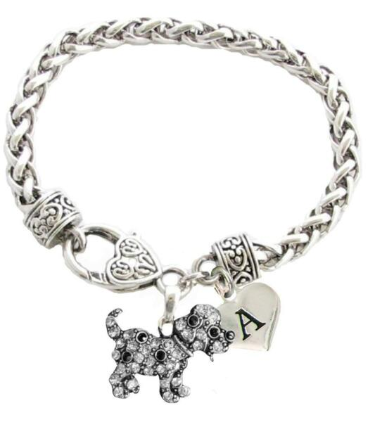 Custom Puppy Dog Silver Bracelet Jewelry Choose Family or Initial Charms Rescue $15.19