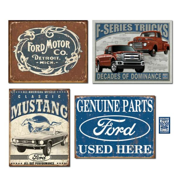 Vintage Ford Tin Sign Bundle Ford Motor Co. Historic Logo Classic Mustang...