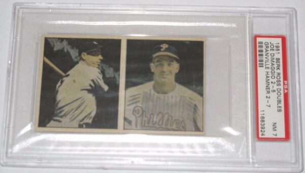 Joe DiMaggio  Granville Hamner 1951 Berk Ross Baseball Card Graded PSA 7 NM