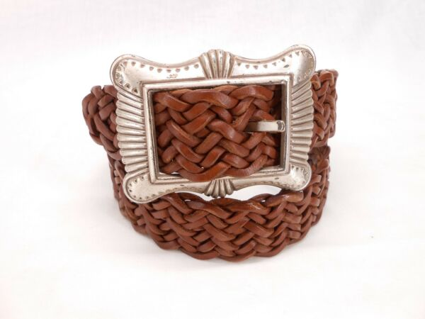 Mens 1 World Vintage Genuine Woven Brown Handcrafted Leather Belt 28 NWT #59
