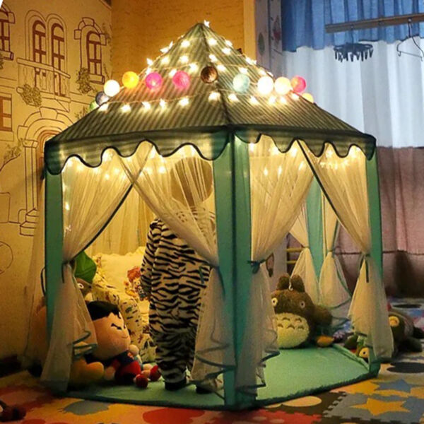 Princess Castle Pop Up Play Tent Kids Girl Play House Indoor Outdoor + LED Light