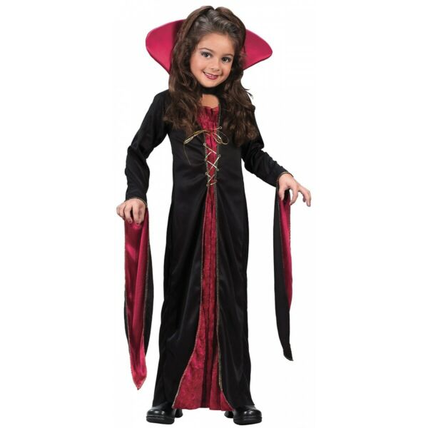Girls Vampire Costume Kids Halloween Fancy Dress