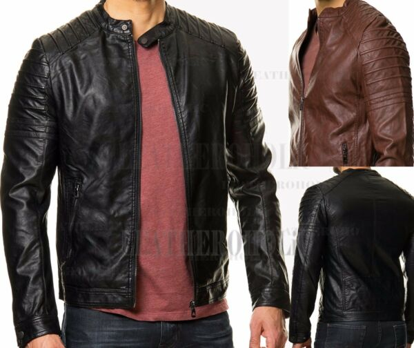 MENS VINTAGE BLACK GENUINE LEATHER JACKET SLIM FIT REAL BIKER NEW XS-3XL