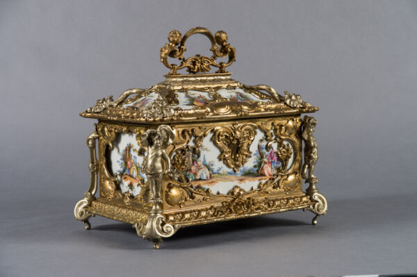A Superb 19th C. German Gilt Bronze & Silver Painted Porcelain Jewelry Casket